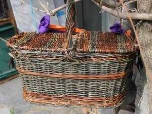 panier de récolte, bandoulière et ceinture, deux couvercles